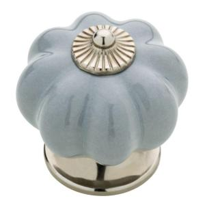 1-1/2 in. (38mm) Chrome and Gray Ceramic Melon Cabinet Knob