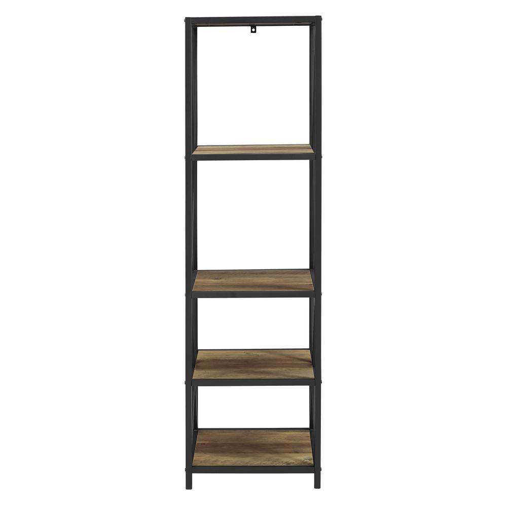 Rustic Oak Metal X Tower with Wood Shelves