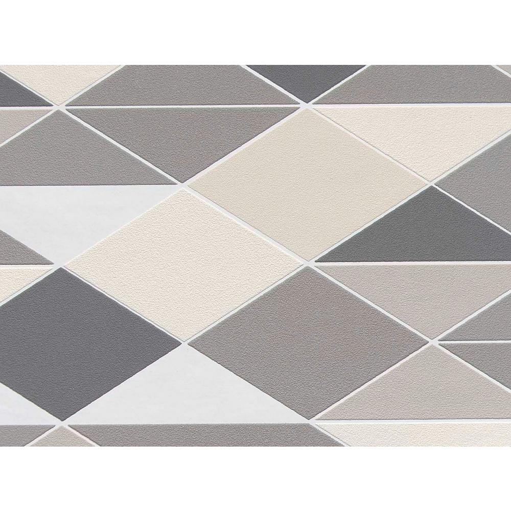 Grey & Cream Winding Diamonds Wallpaper