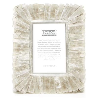 White Selenite 4 in. x 6 in. Picture Frame in Gift Pouch and Gift Box