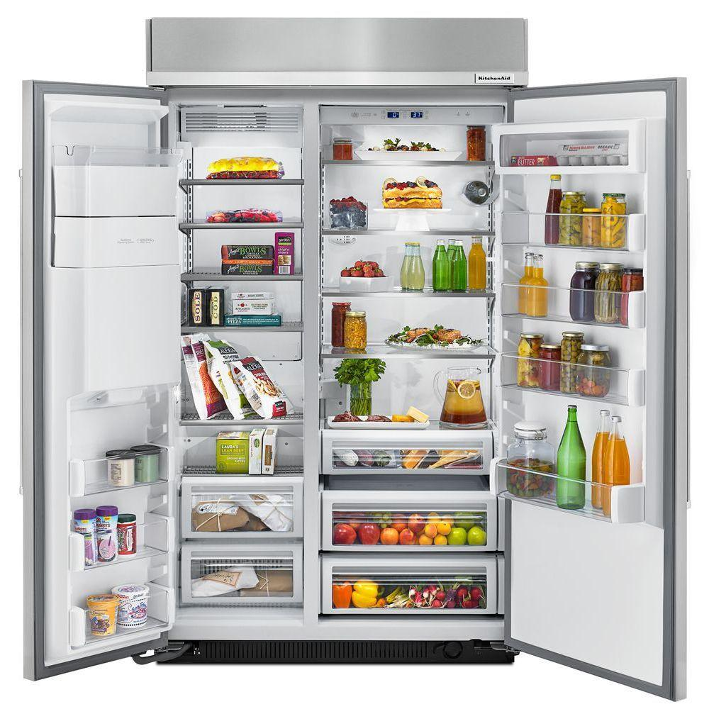 KitchenAid 29.5 cu. ft. Built-In Side by Side Refrigerator in Stainless  Steel