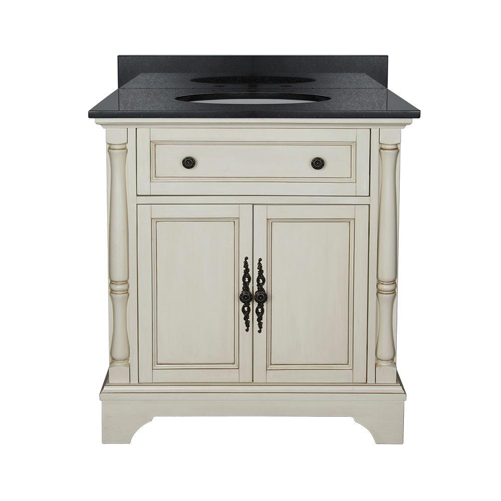 Home Decorators Collection Albertine 31 in. W Bath Vanity in Creamy White with Granite Vanity Top in Black