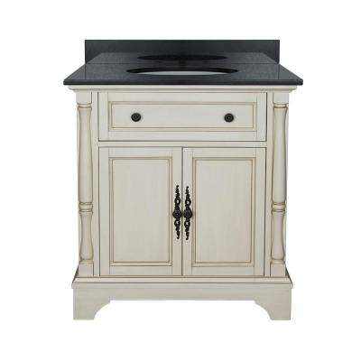 Albertine 31 in. W Bath Vanity in Creamy White with Granite Vanity Top in Black