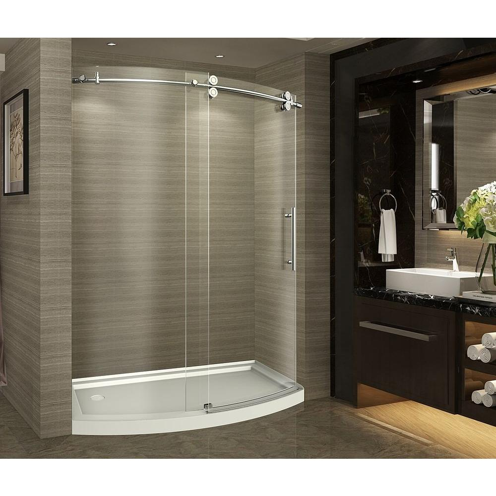 Aston Zenarch 60 In X 75 Completely Frameless Bowfront Sliding Shower Door Stainless Steel With Left Opening And Base