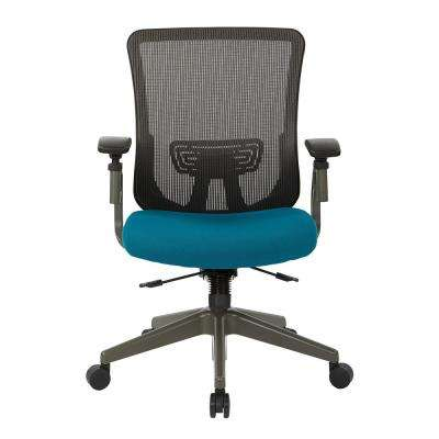Grey Vertical Mesh Back Chair with Blue Mesh Seat
