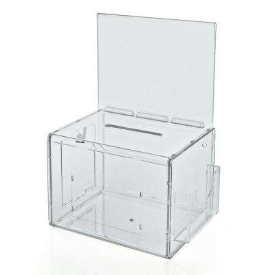 Extra Large Acrylic Lottery Box with Lock and Key, Clear