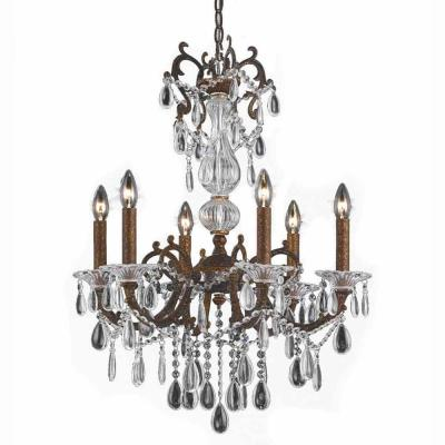 6-Light Bronze Chandelier with Crystal Tear Drop Glass Shade