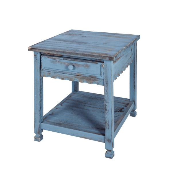 Country Cottage Rustic Blue Antique End Table