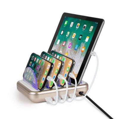4.8 Amp 4-Port USB Charging Station, White/Gold