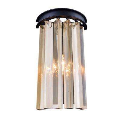 Sydney 2-Light Mocha Brown Wall Sconce with Golden Teak Smoky Crystal