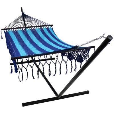 12 ft. Free Standing Handwoven Cotton 2-Person American Mayan Hammock Bed with Stand in Blue