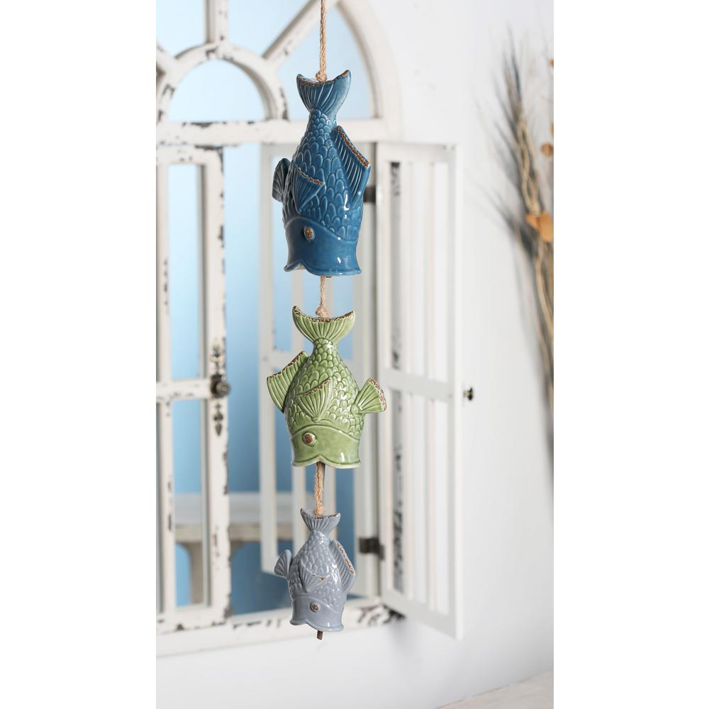 Multi-Colored Ceramic Fishes Wind Chime