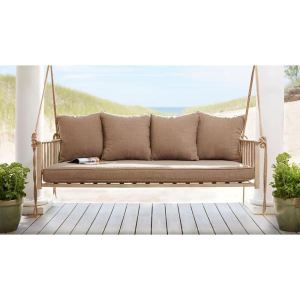 Cane Patio Outdoor Patio Swing with Square Back Cushions