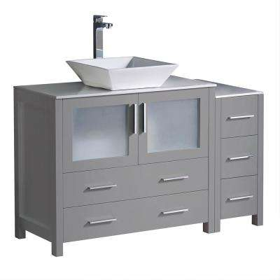 Torino 48 in. Bath Vanity in Gray with Glass Stone Vanity Top in White with White Vessel Sink and Side Cabinet