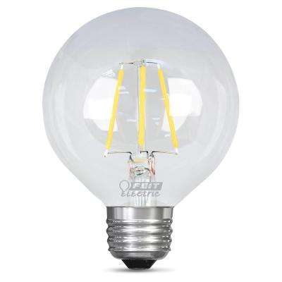 60W Equivalent Soft White G25 Dimmable Clear Filament LED Medium Base Light Bulb (Case of 12)