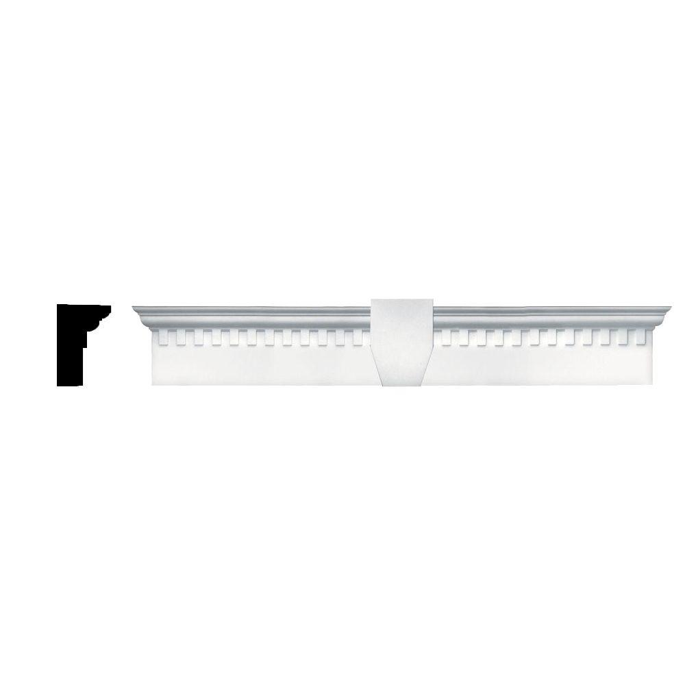 Builders Edge 6 in. x 37 5/8 in. Classic Dentil Window Header with Keystone in 001 White