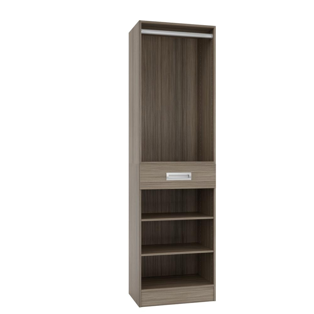 Home Decorators Collection 15 in. D x 24 in. W x 84 in. H Firenze Platinum Melamine with 3-Shelves, Drawer and Hanging Rod Closet System Kit