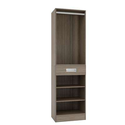 15 in. D x 24 in. W x 84 in. H Firenze Platinum Melamine with 3-Shelves, Drawer and Hanging Rod Closet System Kit
