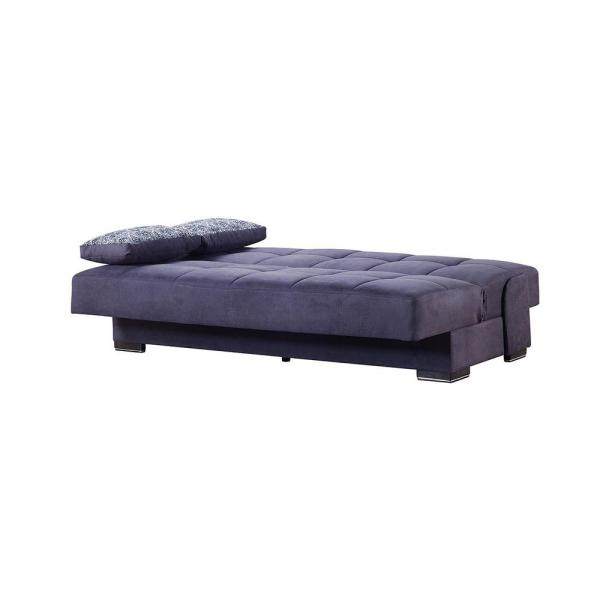 Soho 75 in. Gray Upholstery Convertible Sofabed with Storage