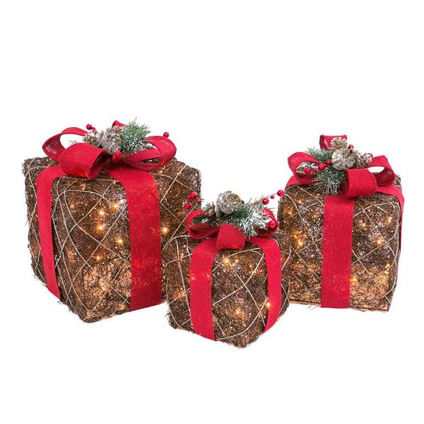 15 in. Assorted Electric Lighted Natural Vine Gift Boxes with Burlap Ribbons (Set of 3)