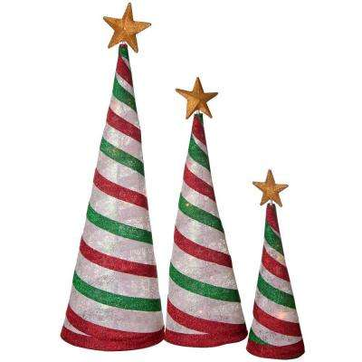 54 in., 42 in., 30 in. Glittering Snowflake Fabric Lantern Cone Trees, Peppermint (Set of 3)