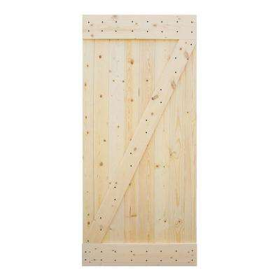 38 in. x 84 in. Ready to Assemble Barn Interior Unfinished 100% Knotty Pine Wooden Sliding Door