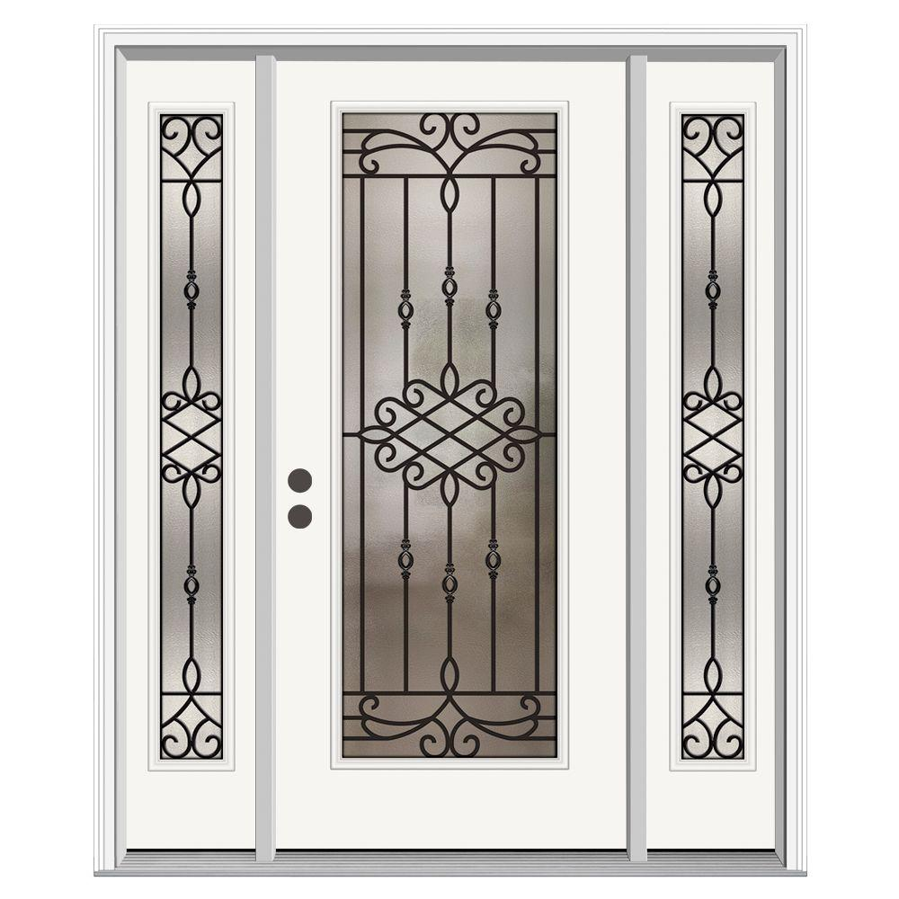 JELD-WEN 62 in. x 80 in. Full Lite Sanibel Primed Steel Prehung ...
