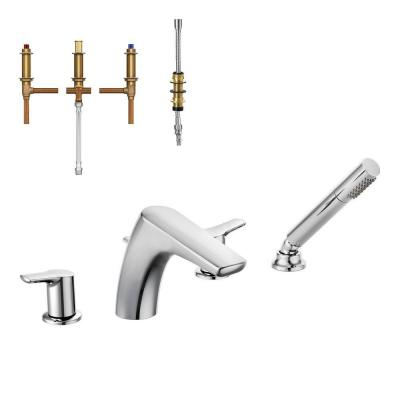 Method 2-Handle Low-Arc Roman Tub Faucet Trim Kit with Handshower and Valve in Chrome