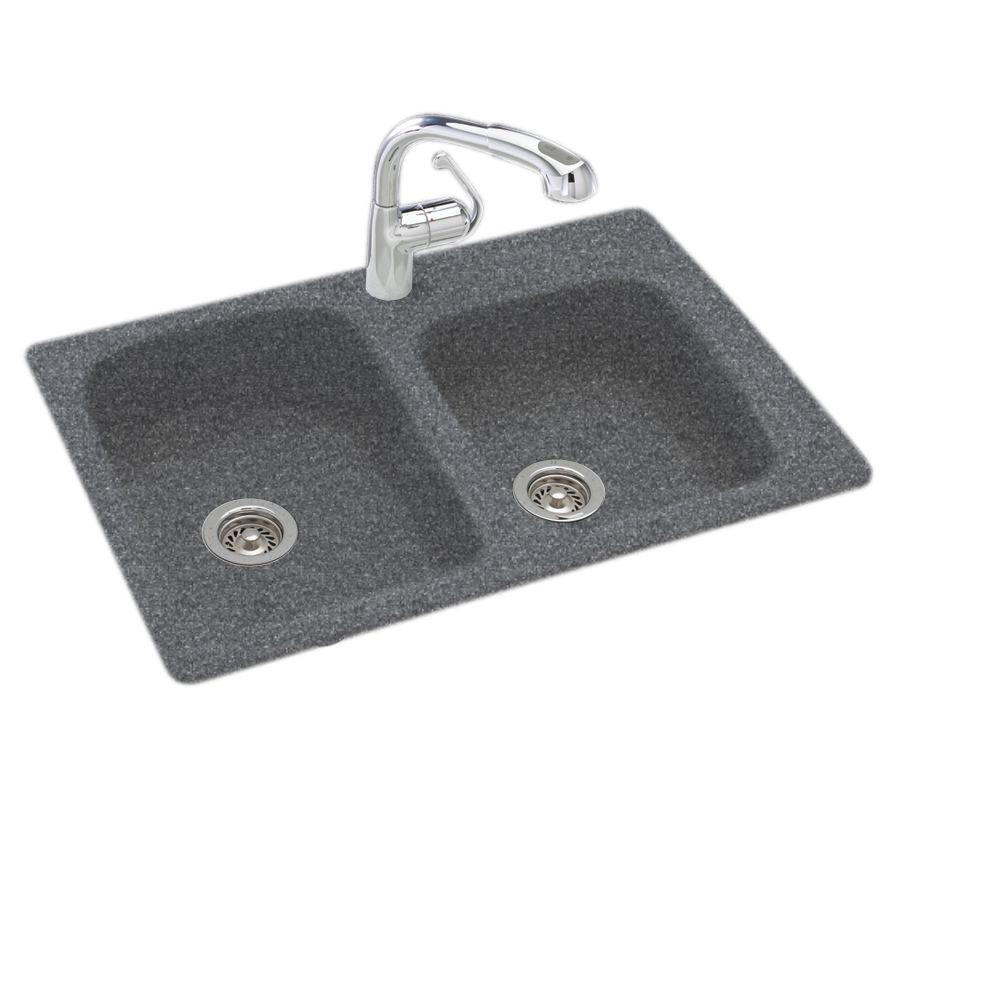Dual Mount Composite 33 in. 1-Hole 55/45 Double Bowl Kitchen Sink