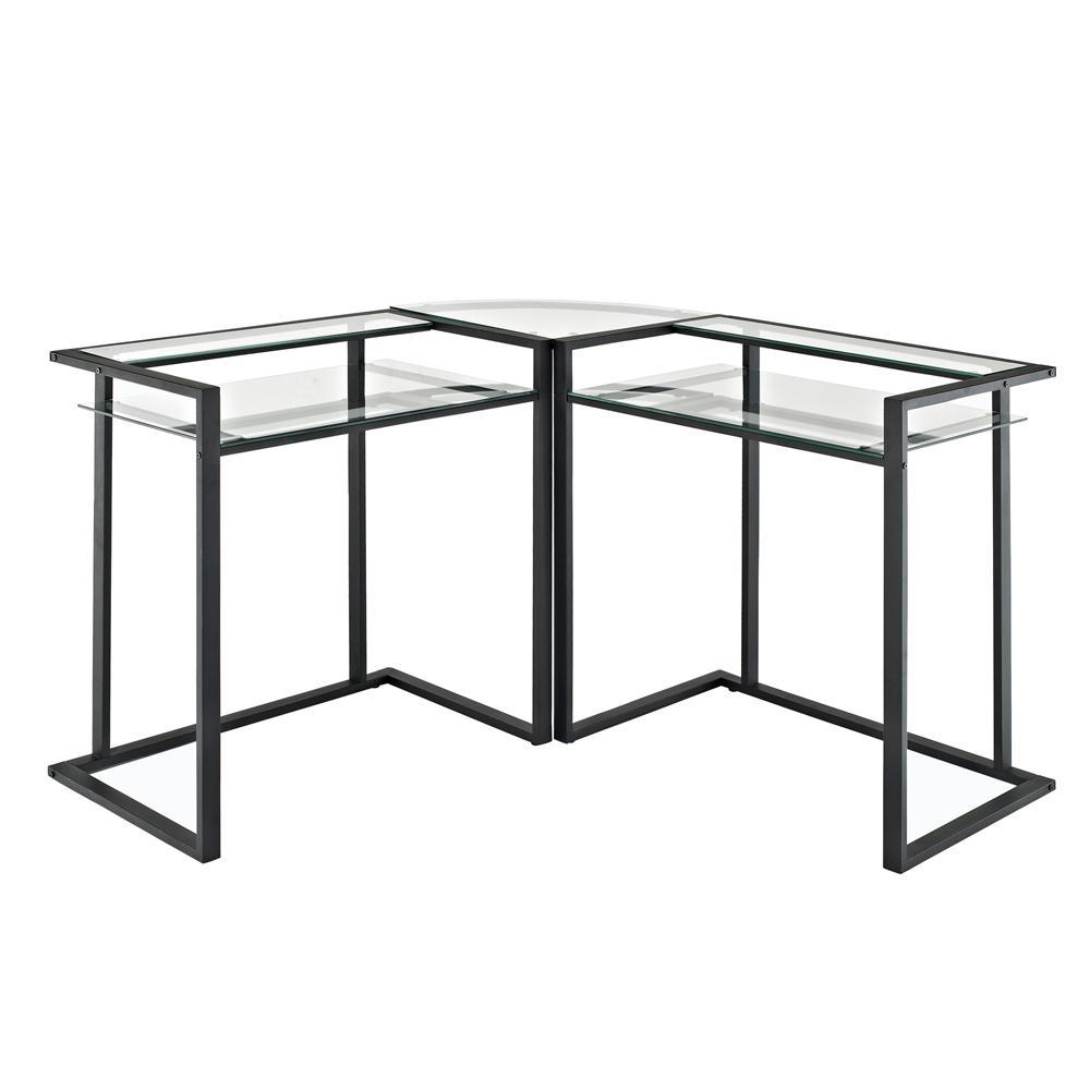 Walker Edison Furniture Company Black Glass Metal Media Audio Component  Stand
