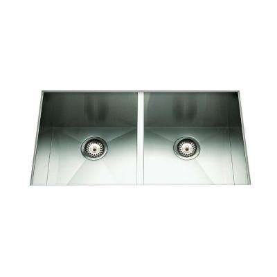 Cantrio Undermount Stainless Steel 29 in. 50/50 Double Bowl Kitchen Sink