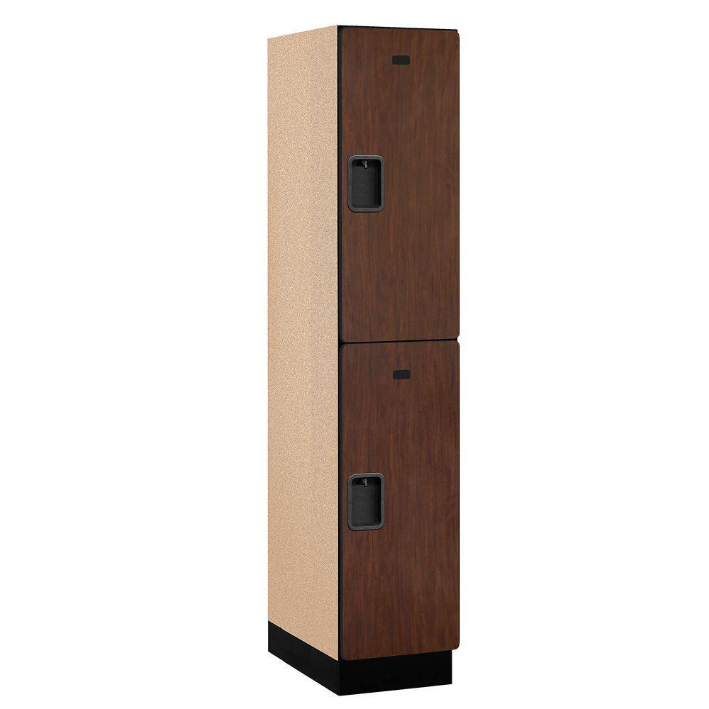 22000 Series 2-Tier Wood Extra Wide Designer Locker in Mahogany - 15 in. W x 76 in. H x 21 in. D
