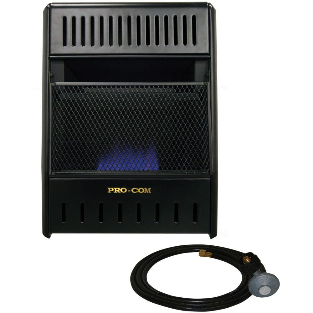 ProCom 14 in. Vent-Free Propane Heater, Black ProCom's Blue Flame Vent-Free heaters make keeping warm in the outdoors quick and easy. Just push a button for easy ignition, stand back and enjoy a great source of dependable, affordable heat. ProCom's Blue Flame vent-free gas space heaters heat the air first, circulating the warmth through the room, much like your central heating system. These gas space heaters operate 99.9% efficient and allow you to enjoy continuous heat even during a power failure, these heaters operate without the need of electricity. Color: Black.
