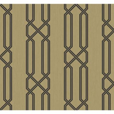 Lattice Metallic Gold and Ebony Contemporary Wallpaper