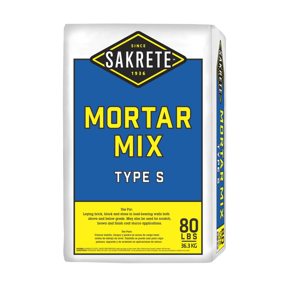 SAKRETE 80 lb  Gray Type S Mortar Mix-65302880 - The Home Depot