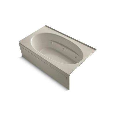 Windward 6 ft. Right-Drain Rectangular Alcove Whirlpool Bathtub in Sandbar