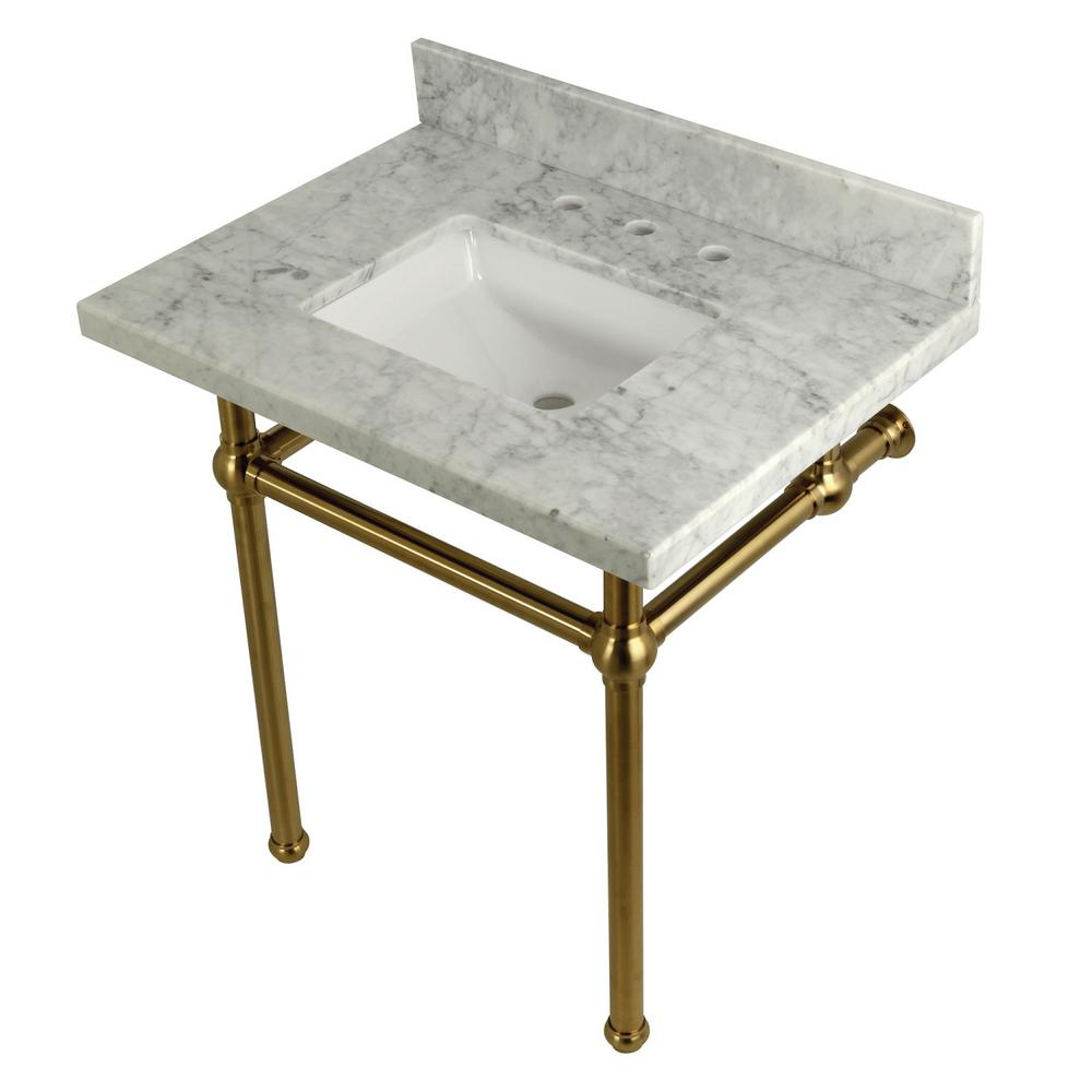 Square-Sink Washstand 30 in. Console Table in Carrara with Metal Legs