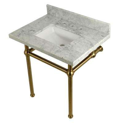 Square-Sink Washstand 30 in. Console Table in Carrara with Metal Legs in Satin Brass