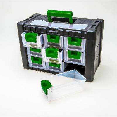 15 in. 9-Drawer Plastic Tool Box in Green or Black