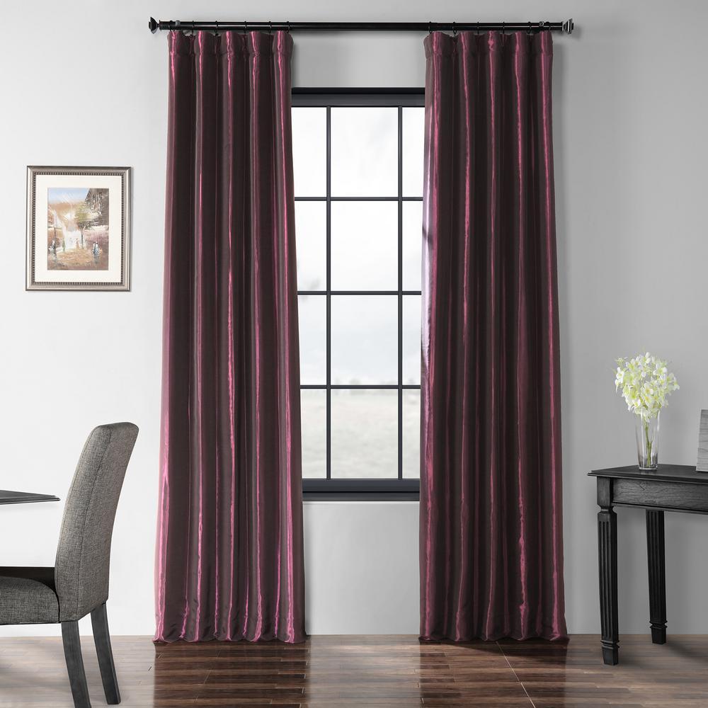Royal Port Purple Blackout Faux Silk Taffeta Curtain - 50 in. W x 120 in. L