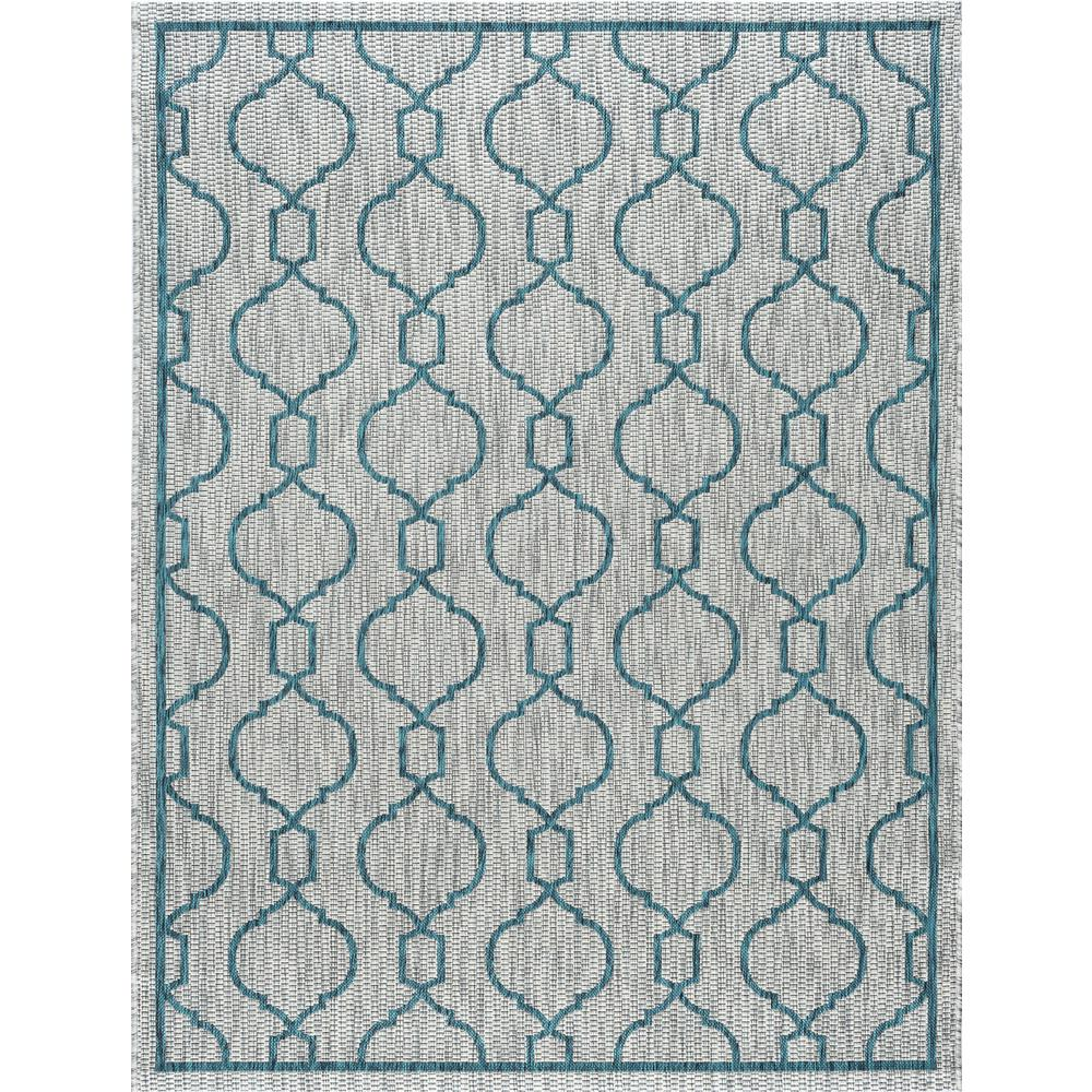 Outdoor Rug 7 X 10: Tayse Rugs Veranda Teal 7 Ft. X 10 Ft. Indoor/Outdoor Area