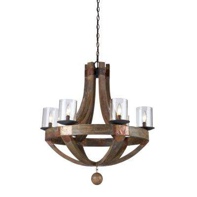 6-Light Wood and Copper Chandelier