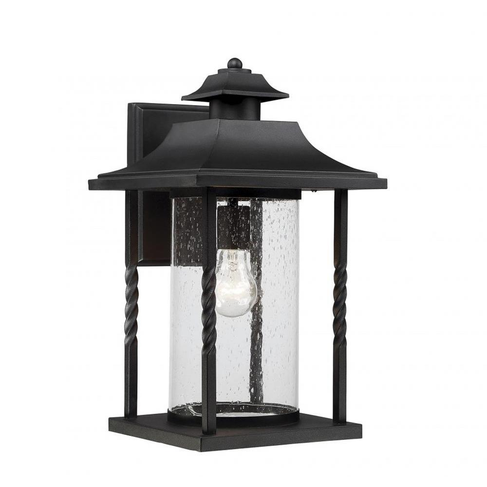 Trevor 1-Light Outdoor Textured Black Wall Mount Sconce