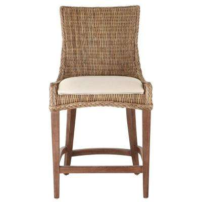 Genie 42 in. Grey Kubu Wicker Counter Stool (Set of 2)
