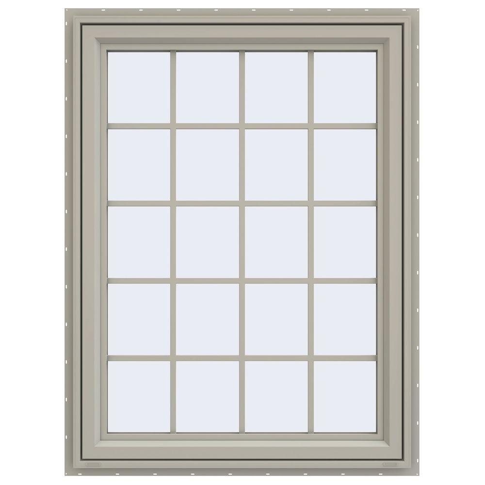JELD-WEN 35.5 in. x 47.5 in. V-4500 Series Right-Hand Casement Vinyl Window with Grids - Tan