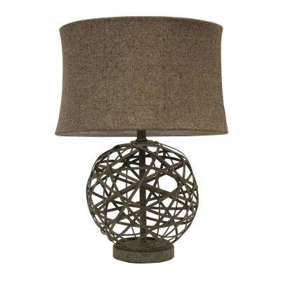 Strapped Ball 21.75 in. Antique Gray Table Lamp with Tweed Shade