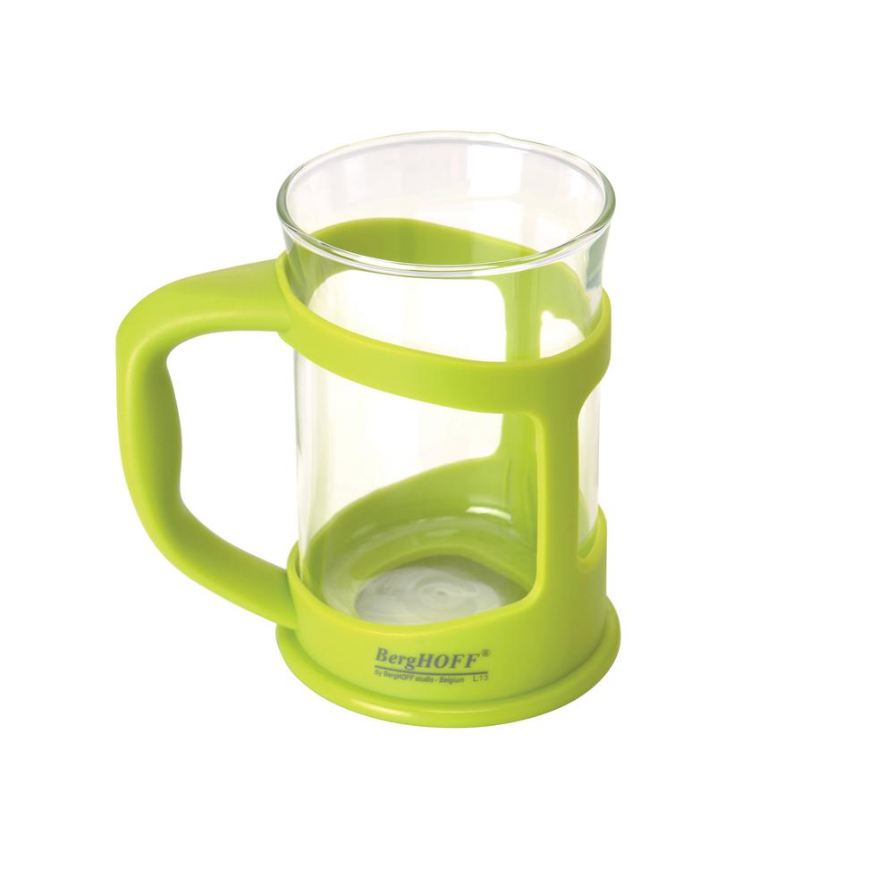Studio 2-Piece Lime Green 6.75 oz. Glass Coffee and Tea Cup