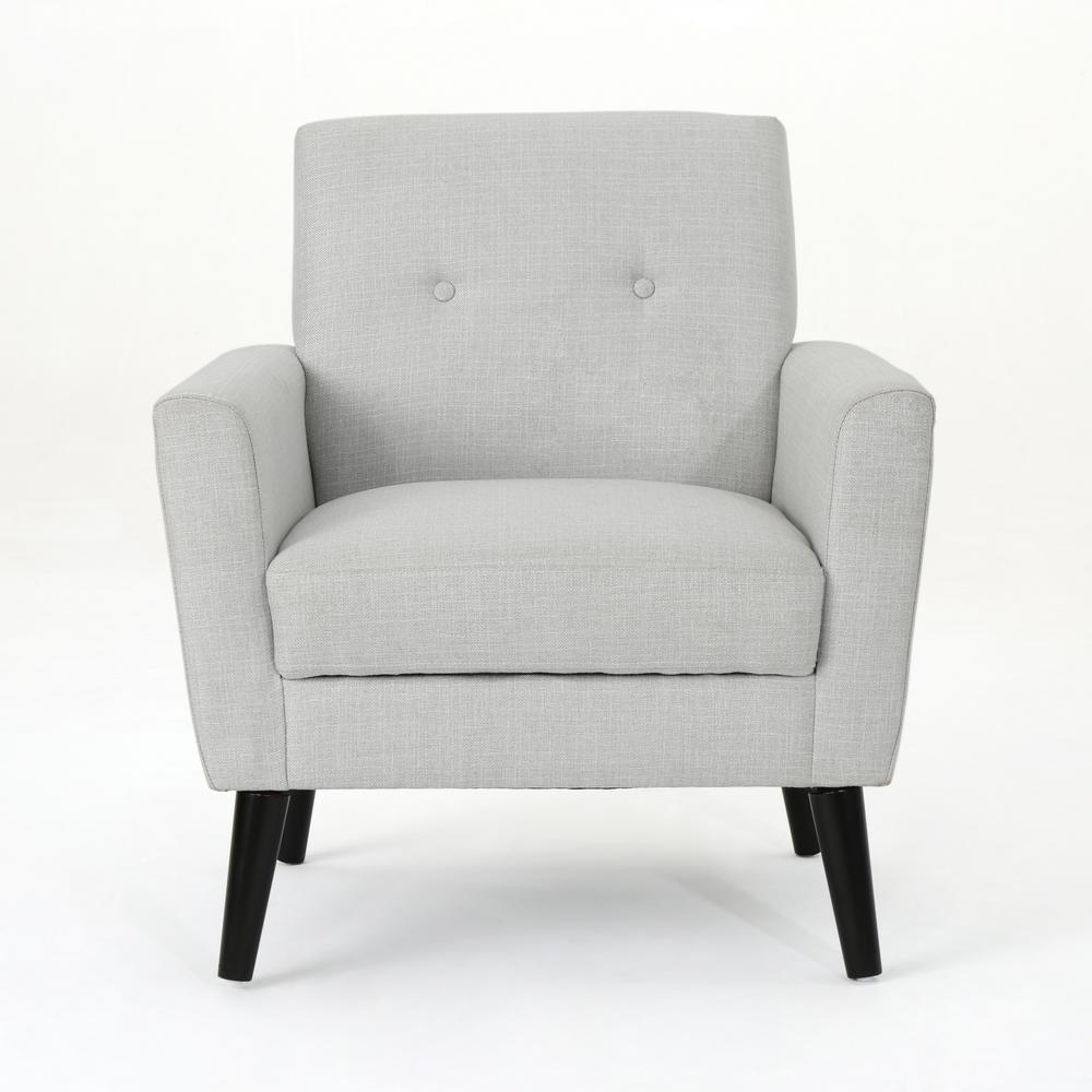 Sienna Mid-Century Modern Button Back Light Gray Fabric Club Chair
