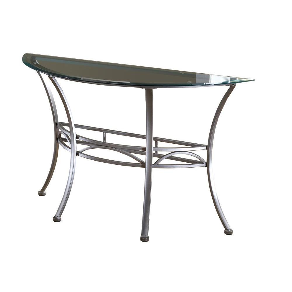 Hillsdale Furniture Abbington Pewter Glass Top Console Table