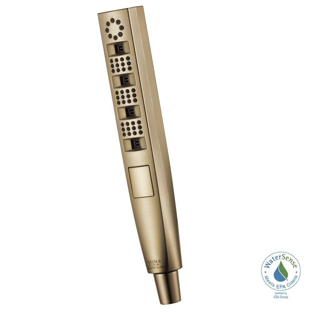Delta Zura 5-Spray Handheld Showerhead with H2Okinetic Spray in Champagne Bronze